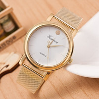 Women Lady Geneva Gold Classic Quartz Stainless Steel Bracelet Dial Wrist Watch = 1956685188