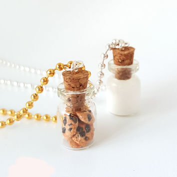 Miniature Cute BFF Cookies and Milk Necklace- Best Friend Forever Necklace -Miniature food jewelry- Chocolate Chips Cookie -Polymer clay