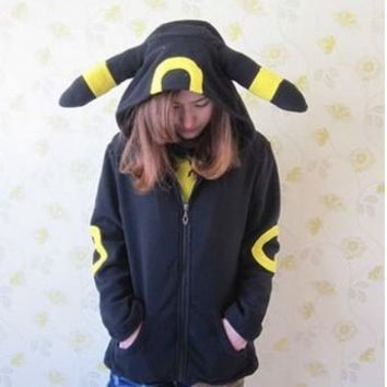 Cosplay Animal Anime  Monster Umbreon Black Hooded Hoodie Sweatshirts With Ears Tail Adult Women Men Polar Fleece JacketKawaii Pokemon go  AT_89_9