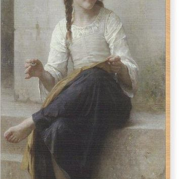 Sewing By Adolphe-William Bouguereau - Wood Print