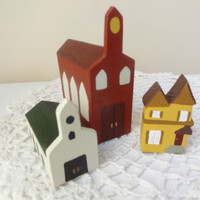 Miniature house church small little wooden display village