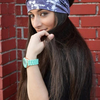 Double Colored Turban White And Blue Bandana Blue Headband - Handmade