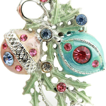 Silver Blue and Pink Rhinestone Christmas Ornament Brooch / Holiday Brooch / Christmas Jewelry / Estate Jewelry