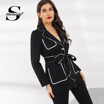 Sheinside Black Patchwork Notched Collar White Wave Tape Rimmed Blazer Women 2019 Spring Solid Single Breasted Trim Blazers