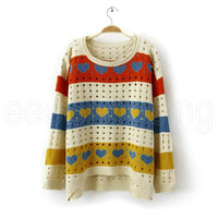 SALE Women Batwing Long Sleeves Love Hollow Knit Candy Loose Sweater Tops Shirt