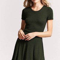 Ribbed Knit Fit & Flare Dress