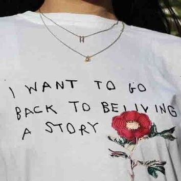 Rose flower Letter Print Shirt Top Tee Gucci White