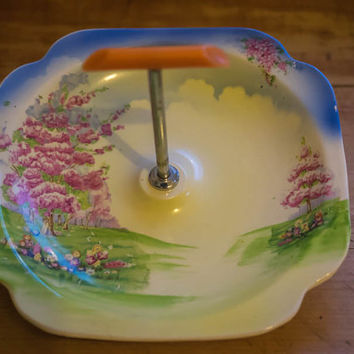 Vintage 1950's Ceramic Serving Dish/Cake Plate with Silver Metal and Bakelite Carry Handle - Cottage Garden Motif