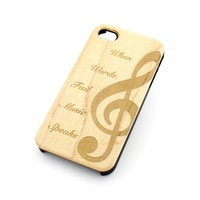 W98 Wood Case for APPLE IPHONE 4 4S Cover - MUSIC SPEAKS g-clef