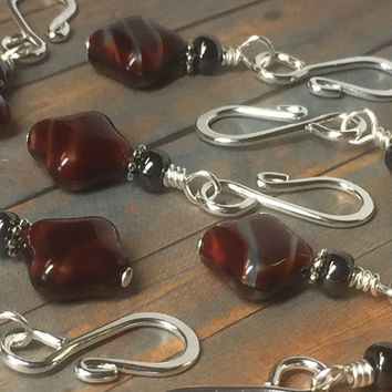 Removable Red Diamond Stitch Markers Open Hook Style