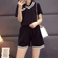 ONETOW Gucci' Women Casual Knit Small Honeybee Embroidery Multicolor Stripe V-Neck Short Sleeve Shorts Set Two-Piece