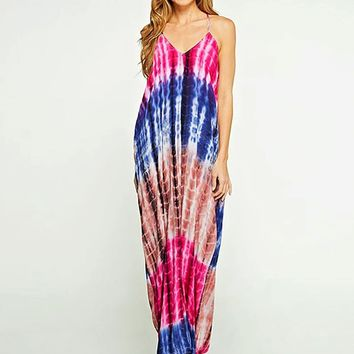 Pure Magic Tie-Dye Maxi Dress in Blue/Pink