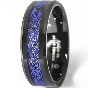 CERTIFIED 8mm Tungsten Carbide Ring Blue Celtic Dragon Black carbon fibre Men's Jewelry