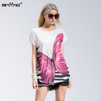 Women Casual Fashion Butterfly Printed Round Neck Short Sleeve Tshirt