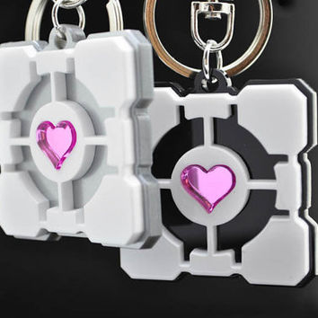 Portal Companion Cube Friendship or Couples Key Chain Set Portal 2 Custom Engraving *Limited Time Discount*