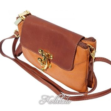 Italian Tan/Brown Genuine Leather Clutch with Golden Closure