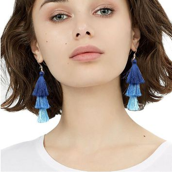 Bojiu New Tassel Dangle Earring Three Layers Long Tassel Earrings Retro Jewelry Mix Color Statement Earrings