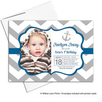 Nautical birthday invitations for baby boy first birthday invitation gray and navy | chevron kids birthday invites - WLP00318