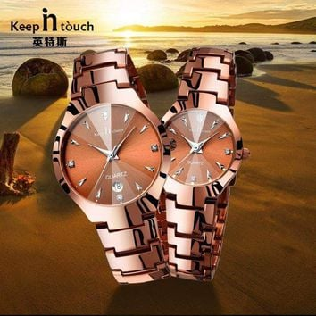Stainless Steel Couple Watches Top brand Luxury Watch Lovers Fashion Quartz Waterproof Watches