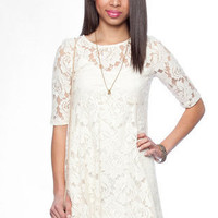 Lace Skater Dress in Ivory :: tobi