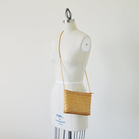 Vintage woven bag / Bamboo purse / Natural