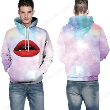 Sexy Red Lips Hoody Sweatshirt Mens Pink Peach Psychedelic Galaxy Skateboarding Hoodies Autumn Active Jumper Pullovers Pocketed