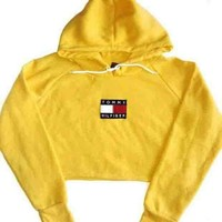 Tommy Hilfiger Trending Women Casual Long Sleeve Crop Top Pullover Hoodie Sweater Yellow I