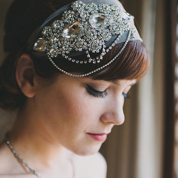 Crystal Headband Veil Head Wrap Art Deco Vintage Inspired Tulle Veil Great Gatsby Wedding Veil 1920's Style - Made to Order - WHITNEY