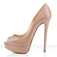 Genuine Leather Pumps Open-Toe Red Bottom Shoes