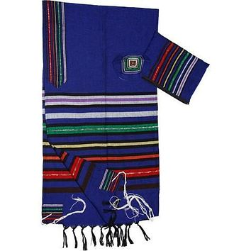 Wool Tallit - Josephs Coat on Blue