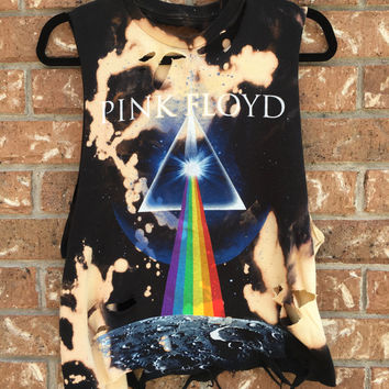 PINK FLOYD bleach tie dyed cropped, rock n roll shirt distressed grunge, concert wear, rock shirt