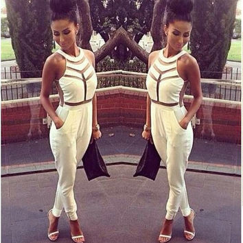 Sleeveless Mesh Cutout Jumpsuit