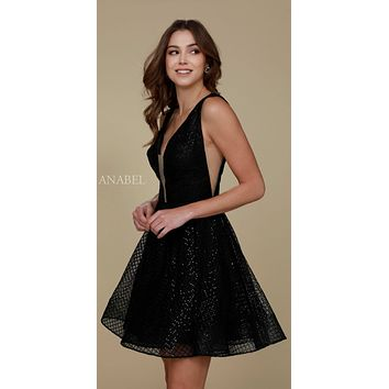 Sequins Homecoming Dress Black A Line Deep V Neck Illusion Side Cut Outs