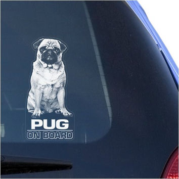 Pug Clear Decal Sticker for Window, Chinese Toy Bulldog Mini Dog Sign Art Print