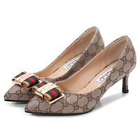 GUCCI Women Fashion Pointed Toe Stripe Heels Shoes