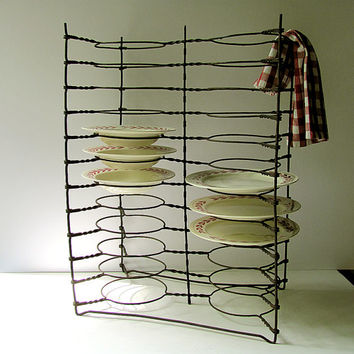 Vintage Antique Double Pie Rack Plate Rack Holder Stand Tray Shelf 24 Dish Rings Steel Wire Primitive Industrial Rustic Farm Country Kitchen