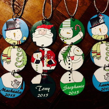 Personalized Snowmen & Santa Aluminum Christmas Ornament