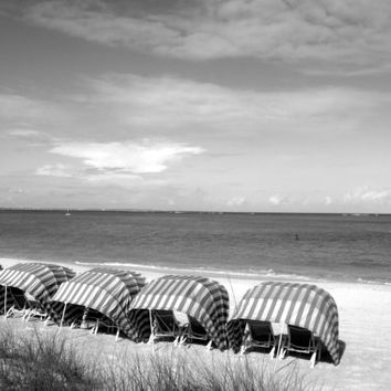 Altered Photograph, Beach Photography, Beach Cabanas, Digital Download, Black and White Photography, Digital Scrapbook, Printable Art