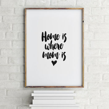 PRINTABLE Art,HOME Is Where MOM Is,Home Decor,Inspirational & motivational Quote,Typography Poster,Printable Quote,Printable Art,Black Heart