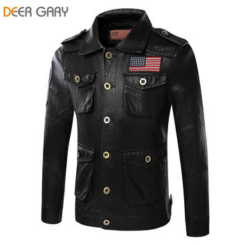 Men's Pu leather jacket with USA patch, Metal Button Down Closure