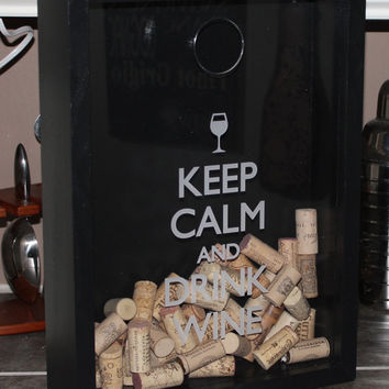 Keep Calm and Drink WINE/Cork Holder/Decor/Bar Decor/Father's Day/Man Gift/Engraved/Wedding Gift/Christmas Gift