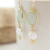 Green Chalcedony and Freshwater Pearl Earrings - Bezel Set Earrings