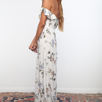 Flynn Skye 2016 || Bardot maxi dress in white rose