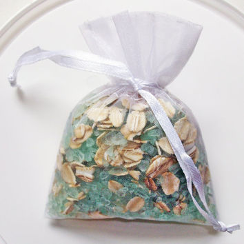 Bath Tea Bag - Dead Sea salt and oatmeal - sea foam blue - Ylang Ylang with Vanilla
