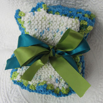 Knit Dishcloth/Washcloth/Dish Rag/Wash Rag Set of three Made with 100% Cotton Yarn in Blues and Green's Ready to ship