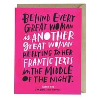Behind Every Great Woman Card in Fuchsia