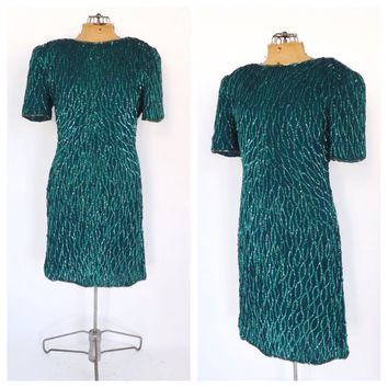 Vintage 1980s Laurence Kazar Emerald Green Sequin 20s Beaded Silk Dress Mod Short Cocktail Avante Garde Party Dress Flapper 1920s style