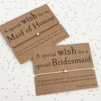 Bridesmaid Wish Bracelet, Maid of Honour Wish Bracelet, Bridesmaid Gift, Bracelet and Giftcard.