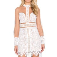 For Love & Lemons Vivian Mini Dress in Ivory