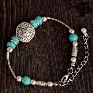 Turquoise Charm Bracelet Antique Silver Charm Chain Link Bracelet & Bangle Fashion Wristband Cuff Bead Bracelet for Women Girl